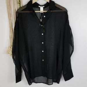 Esley brand, NWT, Boutique, black blouse, sheer, l